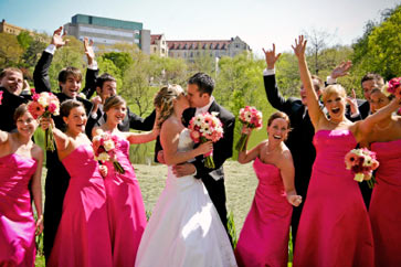 Beautiful bridal party in outdoor park scene